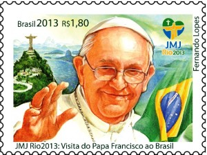 selos postais brasileiros papa