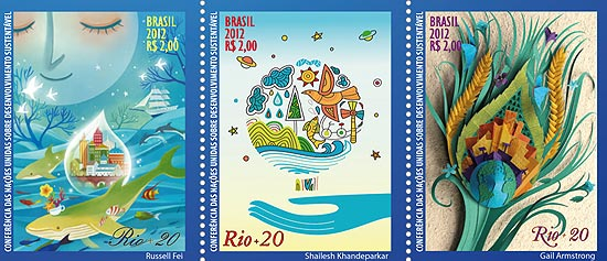 selos postais brasileiros rio 20
