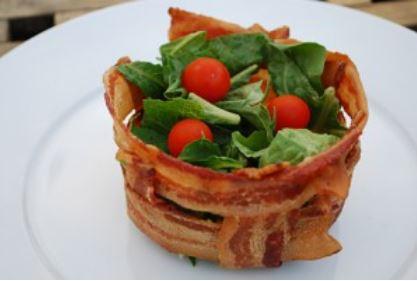 como fazer cestinha de bacon no micro-ondas